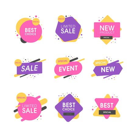 Set of premium quality labels. Modern vector illustration labels for shopping, e-commerce, product promotion, social media stickers, marketing.