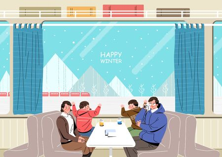 Exciting and beautifull winter travel illustration Stock Vector - 137348457