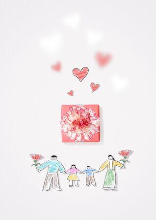 Parents Day, Heart Design and Carnation Flowers Foto de archivo - 145565456