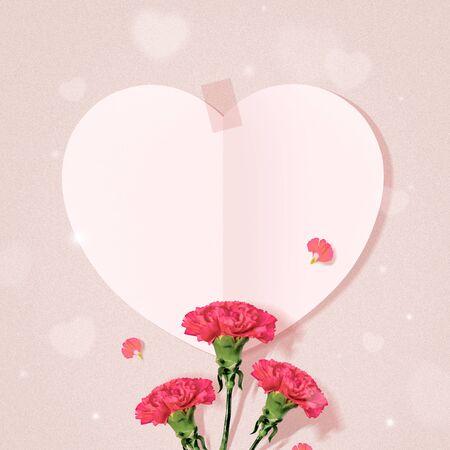 Parents Day, Heart Design and Carnation Flowers Foto de archivo