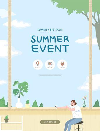summer shopping event illustration. Banner Foto de archivo - 146763821