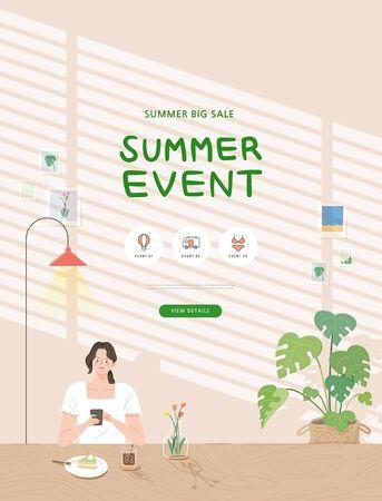 summer shopping event illustration. Banner Foto de archivo - 146763822