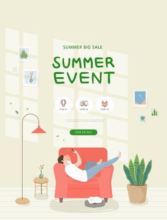summer shopping event illustration. Banner