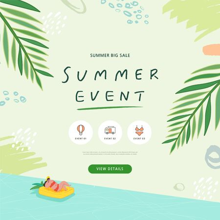 summer shopping event illustration. Banner Foto de archivo - 146763826