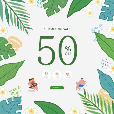 summer shopping event illustration. Banner Foto de archivo - 146763827