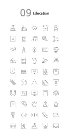 Vector illustration of thin line icons