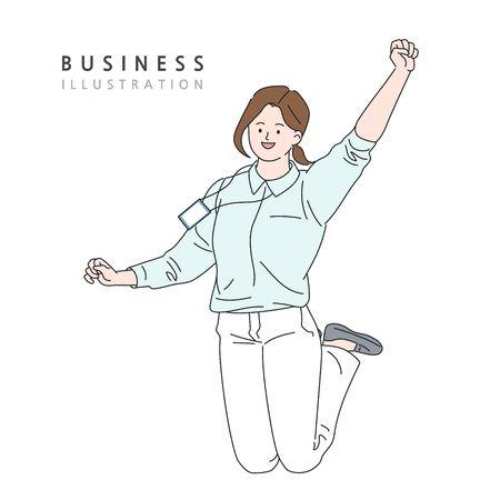Business concept vector line illustration Vectores