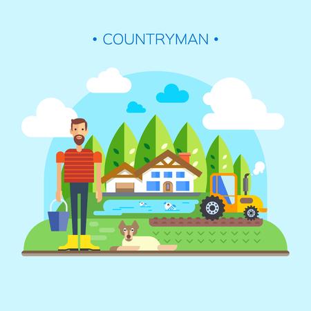 villager: Farmer Near Farm, Field Farmland Countryside Landscape Flat Illustration