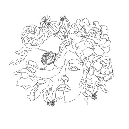 Woman line drawing face with bird and flowers. Art line flower head. Minimalist woman print. Black and white girl line drawing illustrati. Pretty woman natural face with flowersin line vector drawing. Portrait minimalistic style. Botanical print.