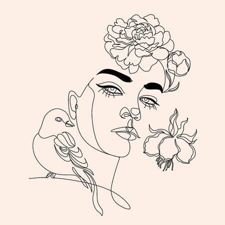 Woman line drawing face with bird and flowers. Art line flower head. Minimalist woman print. Black and white girl line drawing illustrati. Pretty woman natural face with flowersin line vector drawing. Portrait minimalistic style. Botanical print. Vettoriali