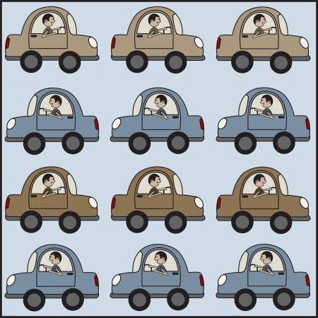driving a car: Hombre que conduce un coche a otro.