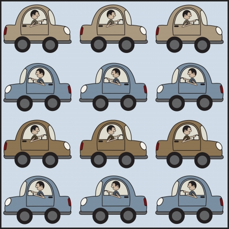 Man driving a car back and forth. Vector