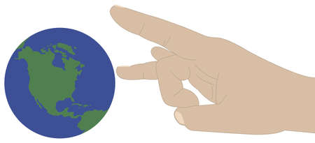 flick: A hand ready to flick the worldglobe.  Illustration