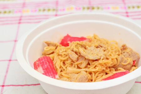 cooked instant noodle: Hot and spicy instant noodle with pork and  surimi