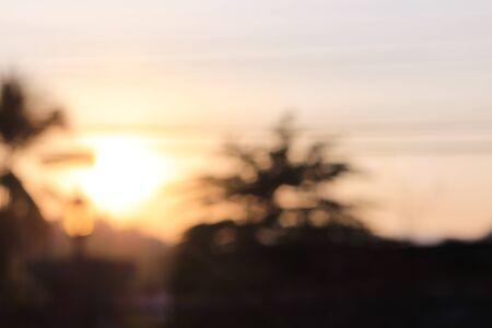 front yard: blur sunset at front yard Stock Photo