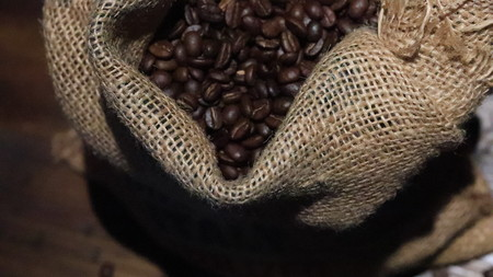 Coffee gunny-bag Stockfoto