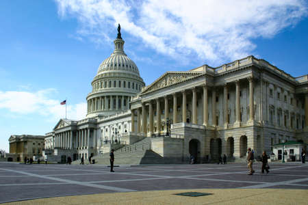 1 November 2020 Washington US - Capitol Hill in Washington DC with dome and colonnade with daylight and facade details and blue sky