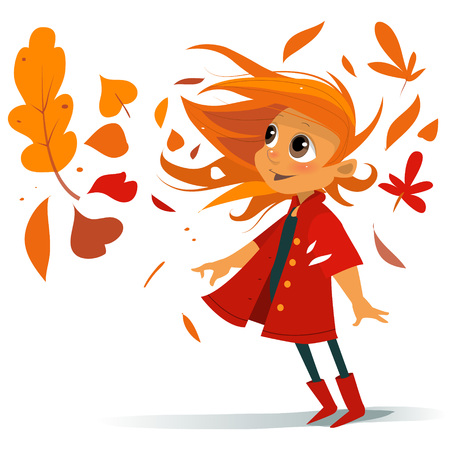 cute happy fashion cartoon baby girl with leaves wreath in autumn windy jacket weaven hairs in boots