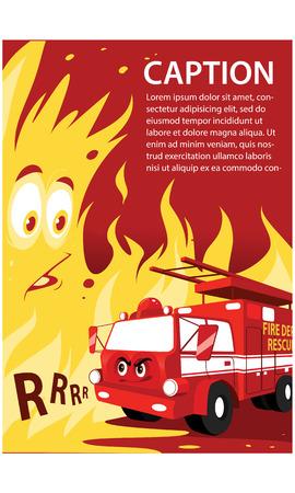 Cartoon friendly cute smiling red firetruck vector illustration