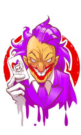 Cartoon joker character smiling holding play card violet suit hair white gloves vector illustration. creepy joker face.
