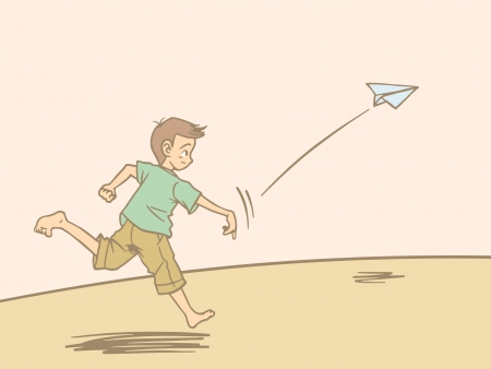Child and paper airplane Vector