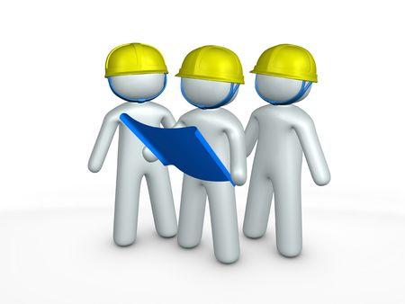 3d image, contractors, blueprint, construction site Stock Photo - 3508211