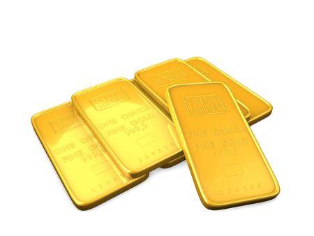 3d image, Gold bars, isolate background photo