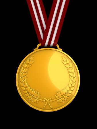 3d image, shiny gold medal Stock Photo - 3508215