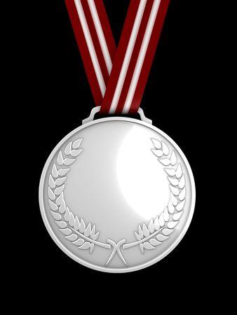 3d image, shinysilver medal Stock Photo