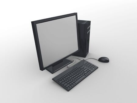 3d image, Computer pheriperal, mouse, cpu, monitor, keyboard photo
