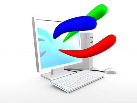 3d image, Computer with basic color, blue, red, green Stock Photo