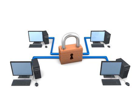 3d image, conceptual networking security Stock Photo - 3508224