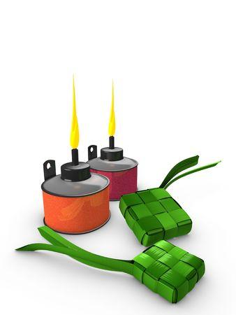 3d image, Conceptual, Pelita (Oil lamp) & Ketupat (Dumpling)