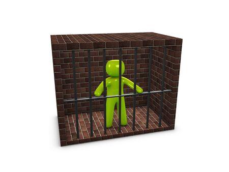 consequent: 3d image, conceptual ,  prisoner