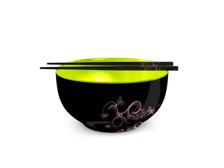 hashi: 3d image, Conceptual bowl and chopsticks Stock Photo