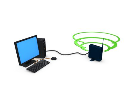 3d image, conceptual Desktop Wireless connection Stock Photo - 3736949