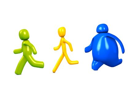 3d image, conceptual, average, thin, fat