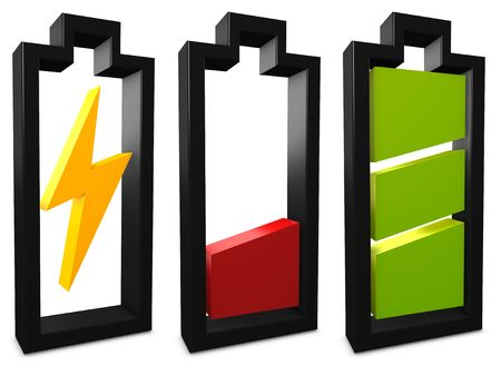 3d image, conceptual battery, charging, low, full Stock Photo - 3865684