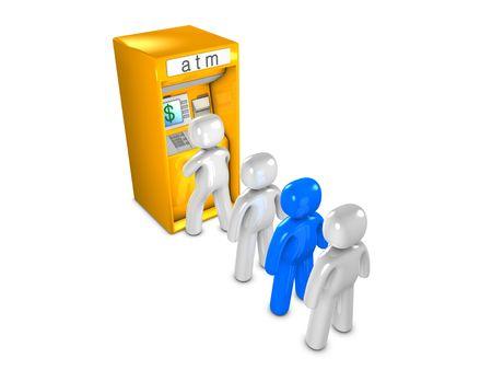3d image, conceptual, ATM queue
