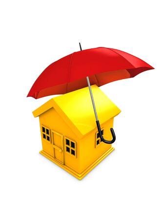 refinancing: 3d image, conceptual, housing umbrella