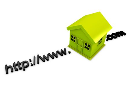 3d image, conceptual webpage address with house photo