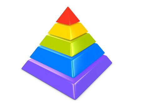 layers levels: 3d image, conceptual 5 layers hierarchy pyramid Stock Photo