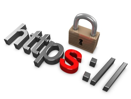safe payment: 3d image, Hypertext Transfer Protocol Secure (HTTPS), security protocol for online transaction Stock Photo