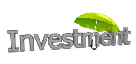financial assets: 3d image, investment conceptual, investment umbrella
