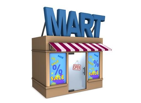 3d image, conceptual mini mart Stock Photo