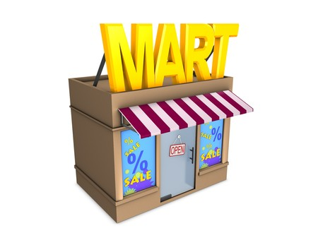 3d image, conceptual mini mart Stock Photo