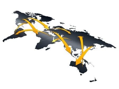 export and import: Imagen en 3D, creaci�n de redes de comercio, concepto de negocio Foto de archivo