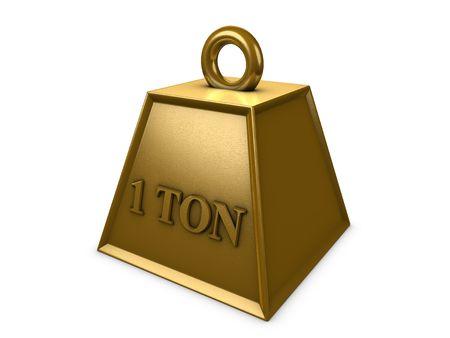 ton: 3d image, 1 ton weight Stock Photo