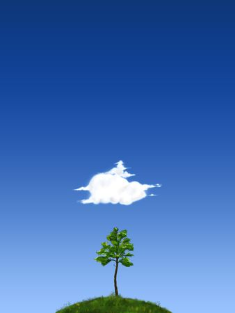 2d illustration, fantasy land with blue skies, tree, clouds, grass illustration