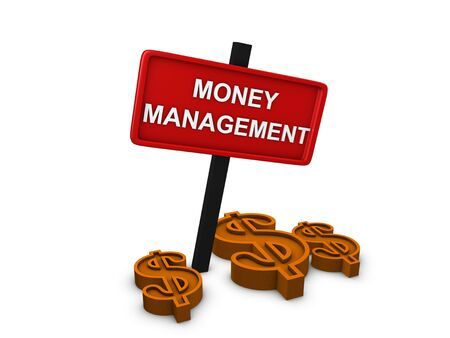 3d image, money management, on white background Stock Photo